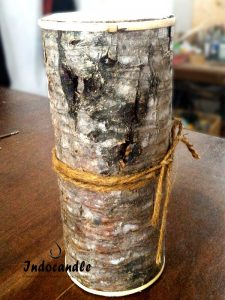 Distress Pillar Candle Wrapped Wooden Tree wholesale and retail